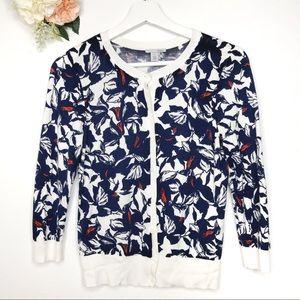 Halogen Navy Blue Floral Cardigan Women's Size XS